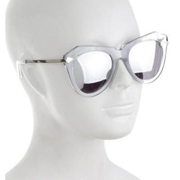 8e9f96382177 KAREN WALKER One Star Clear Silver Sunglasses